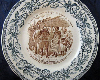 Antique French Faience Transferware Plate Hautin & Boulenger Choisy-le-Roi France 1890s