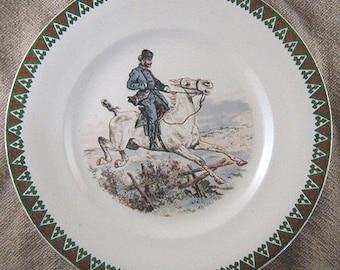 Antique French Transferware Plate Sarreguemines France Utzschneider - Horses