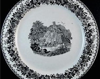 Antique Transferware Plate French Faience Fine Creil et Montereau