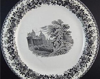 Antique Transferware Plate French Faience  Creil et Montereau