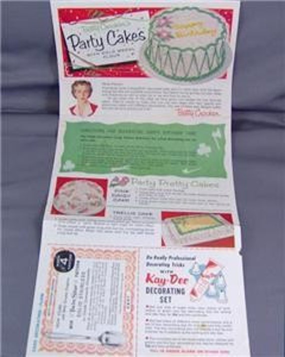 Vintage 1950s Betty Crocker PARTY CAKES Recipes Advertising Ephemera