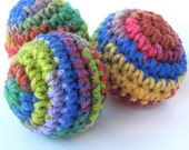 Crochet Ball Toy Baby First Ball- Set of 3 Learning to Grasp, Crawl, Push Up, Roll Over- Developmental