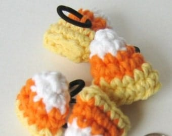 Crochet Pattern Candy Corn Amigurumi Hair Tie or Halloween Decoration- PDF file Permission to Sell what you make