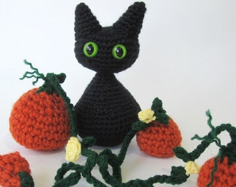 Halloween Crochet Pattern Cat Kitten Pumpkin Amigurumi, w/ Angel Wing pattern- 3 Patterns- Pdf Format- Permission to Sell what you make