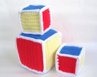 Crochet Pattern toy - Baby Blocks Crochet Pattern Toddler Rattle Soft Toy- PDF Format- Permission to Sell what you make p107