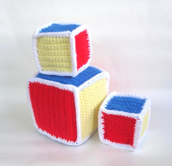 Free Easy Crochet Patterns For Baby Toys : Baby Blocks Crochet Pattern Toddler Rattle Soft Toy PDF