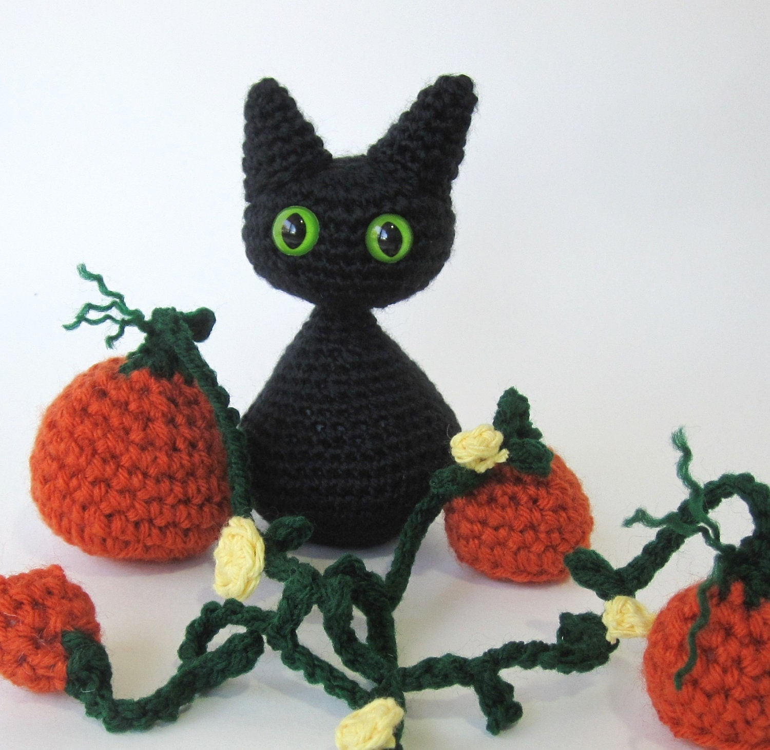Free Easy Halloween Crochet Patterns : Halloween Crochet Pattern Cat Kitten Pumpkin Amigurumi w/