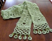Friendship Chain Crocheted Beaded Scarf - Celery Green