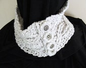 upcycled yarn double cable heather gray crochet neck cowl scarf with salvaged buttons