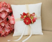 NEW Ring Bearer Hemp Pillow with Flower and Ribbon Decoration - Special FREE Shipping