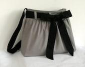 SALE - Gray Messenger Bag with Black Bow Sash / Shoulder Bag / Tote Diaper bag /  Cute Handbag / Bow