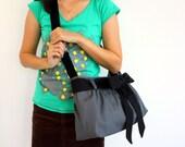 SALE Small Gray Canvas Bag, Messenger Bag, Cross Body, Shoulder Bag with Sash, Bow, Adjustable strap, Pleats, Day bag, Travel - Jeep