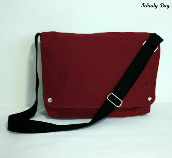Maroon Red / Black / Grey Canvas Messenger with Laptop compartment or Choose Your Color
