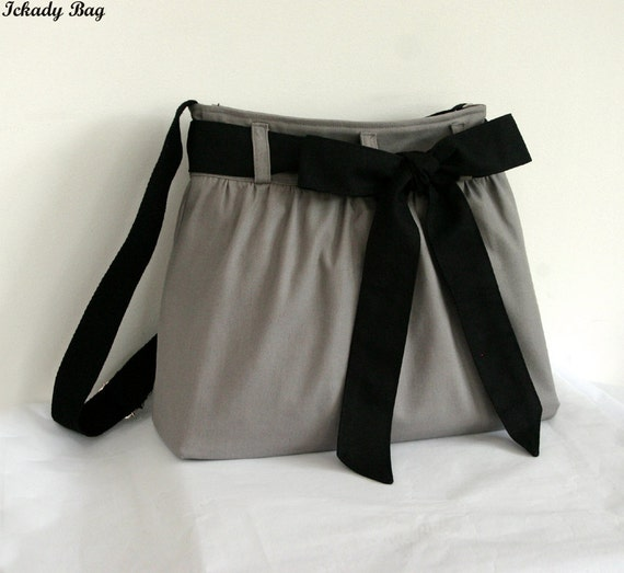 SALE - Gray Messenger Bag with Black Bow Sash / Shoulder Bag / Tote Diaper bag /  Cute Handbag / Bow