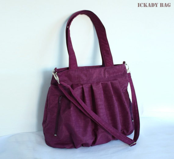 Purple Bag in Water-resistant Nylon - 2 Exterior Zipper Pockets - Ready to Ship