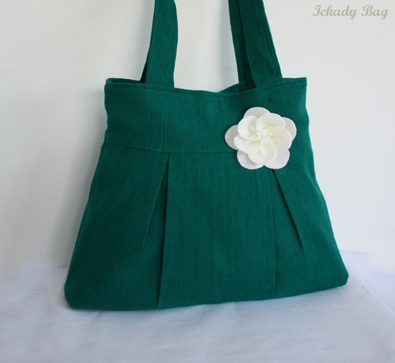 Green Bag - Bridesmaid gift - Handbag - Pleated Purse - Hemp Cotton Bag - Flower Pin included