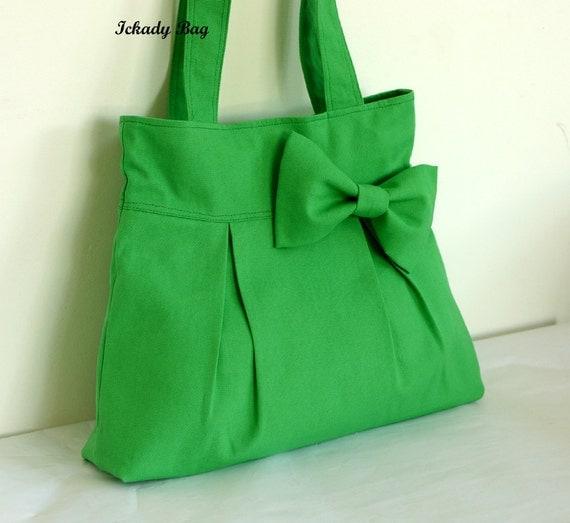 SALE 10% Green Canvas Bag / Tote / Handbag / Shoulder Bag / Bow Purse / Weddings gift