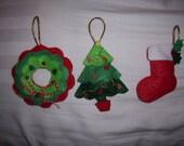 set of 3 vintage style felt ornaments