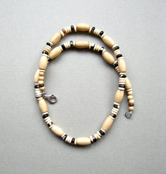 FALL CLEARANCE - Surf Necklace, Mens Choker, Bone, Striped Agate Stone