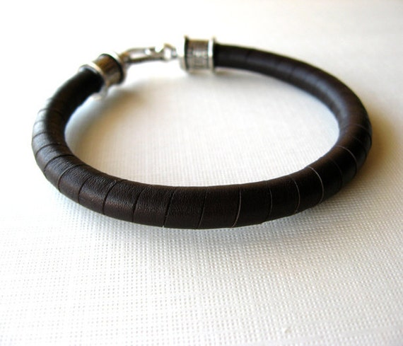 Mens Leather Bracelet, Dark Brown Lace Wrapped, Hook Clasp