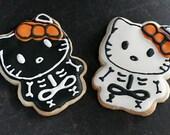 "Homemade Hello Kitty Halloween ""Skello Kitty"" Skeleton Bones Sugar Cookie Collection (1 Dozen)"