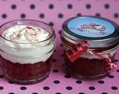"Homemade Mini Mason Jar Cupcakes 4 Pack Gift Set - ""Rockin Red Velvet"" Valentine Cake"