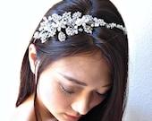 Bridal swarovski crystal pearl wedding headpiece. Rhinestone jewel headband/tiara.  Elise