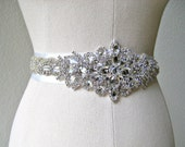 Bridal beaded crystal sash.  Rhinestone jewel applique wedding belt.  23 inches. LUXE PRINCESS