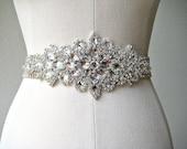 SALE 30% Off.  Bridal beaded luxurious crystal sash.  Rhinestone applique wedding belt. CRYSTAL PRINCESS