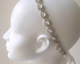 Bridal beaded Czechoslovakia crystal rhinestone wedding headband.  TESS.