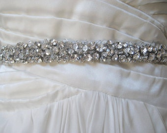 SALE 30% Off.  Bridal Chunky Czechoslovakia Crystal Sash. Silver Rhinestone Cluster Beaded Wedding Dress Belt. Sequin Sash. CRYSTAL CLUSTERS