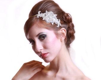 Bridal beaded art-deco czechoslovakia crystal headband. Vintage rhinestone applique wedding hair comb.  FRENCH DECO.