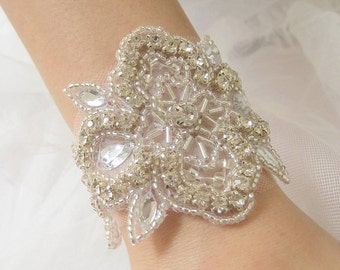 Bridal beaded elegant Czechoslovakia crystal bracelet.  Vintage style rhinestone applique wedding bracelet.  French Deco