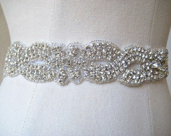 Bridal chunky infinity beaded crystalsash.  Woven rhinestone wedding belt. CRYSTAL BRAID.