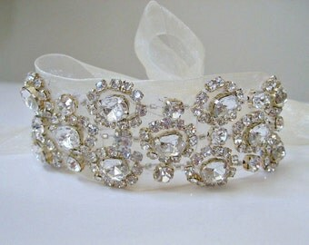 Bridal  Czechoslovakia beaded crystal bracelet.  Rhinestone flower wedding bracelet. CHANTILLY CRYSTAL.