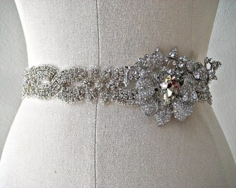Bridal braided crystal sash with glam orchid jewel piece.  Embellished beaded rhinestone wedding belt. EXOTIC ORCHID