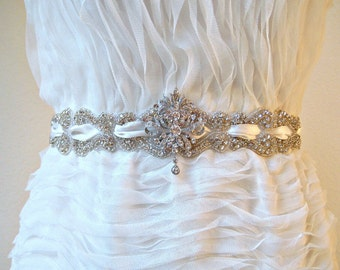 Bridal wedding beaded scroll crystal sash with romantic swarovski jewel.  VICTORIANA