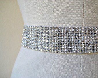 Sale 20% Off.  Dazzling bridal beaded Czechoslovakia crystal rhinestone band wedding sash/belt, 8 rows.  CRYSTAL DREAM.