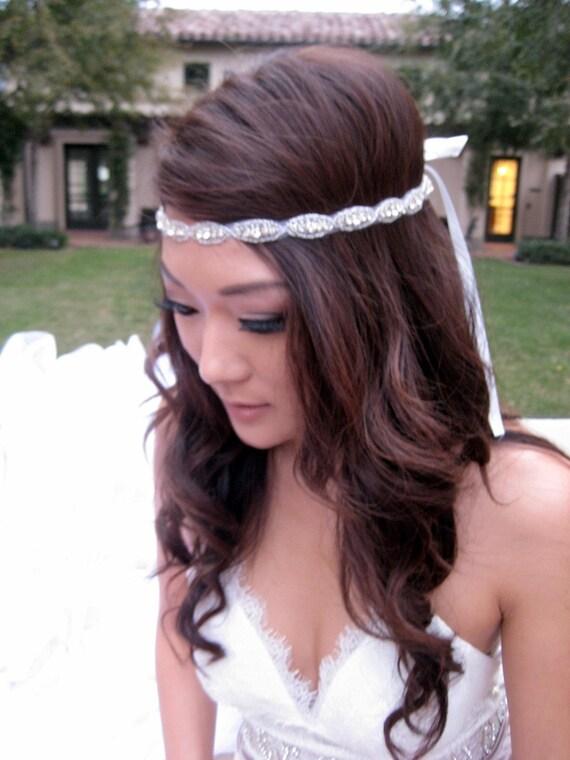 Bridal Oval Crystal Headband Rhinestone Beaded Wedding