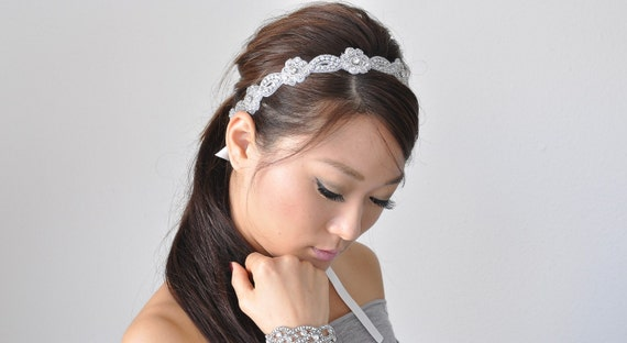 Bridal beaded flower Czechoslovakia crystal headband.  Rhinestone oval wedding headpiece. CHELSEA
