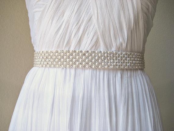 SALE 15% off.  Bridal wedding beaded pearl/crystal sash/belt, 6 rows.  CREAM & SPARKLE.