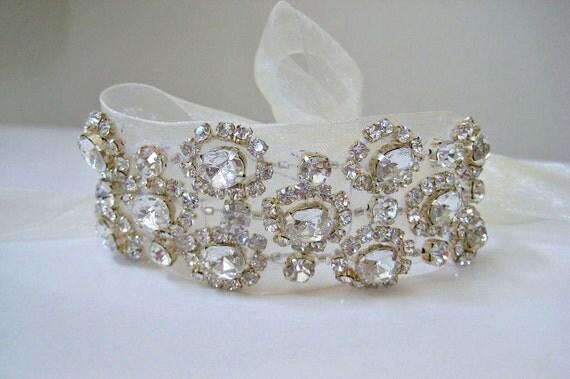 Bridal  Czechoslovakia beaded crystal bracelet.  Rhinestone flower wedding bracelet. CHANTILLY CRYSTAL.