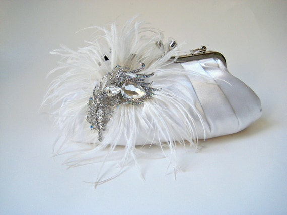 PEACOCK FANTASY.  ostrich feather & crystal peacock jewel clutch