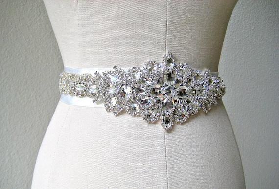 Bridal beaded crystal sash.  Rhinestone jewel applique wedding belt.  23 inches. LUXE PRINCESS