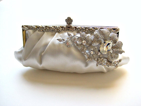 Satin bridal wedding clutch/purse with large swarovski crystal orchid jewel.  EXOTIC ORCHID