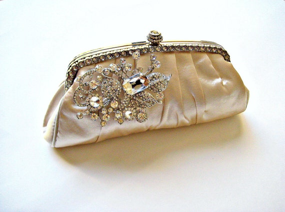 Bridal wedding clutch/purse with swarovski crystal jewel, champagne satin. HAUTE DE LUXE