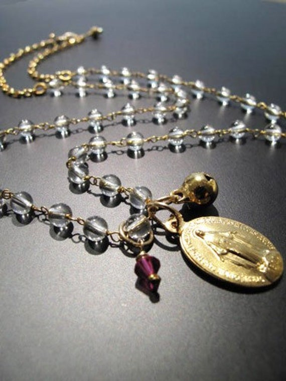 """Authentic""""Blessed Miraculous Medal"""" Clear Quartz Crystals Necklace (with Horai Bell and Ruby Pink Swarovski Crystal)"""