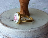 OOAK romantic hand-painted guilloche enamel rose ring