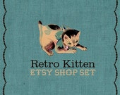 DELUXE Premade Etsy Shop Set -  Retro 1950s Kitten and Blue Linen