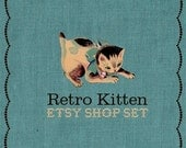 Retro Premade Etsy Shop Set - Kitten and Blue Linen